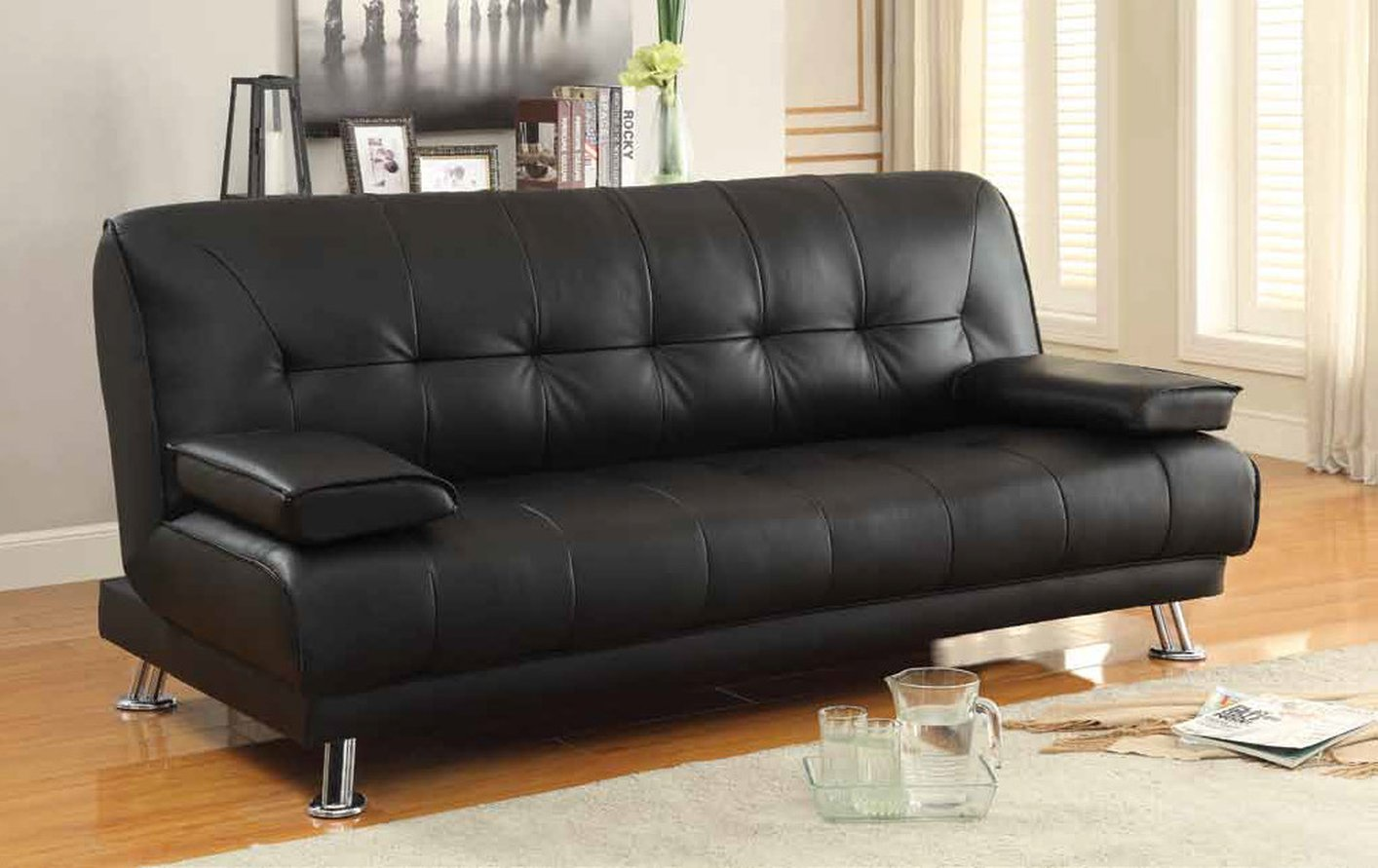 black and white leather sofa bed creative design coaster 300205 steal a