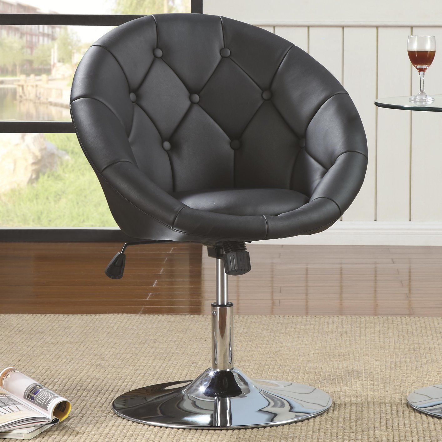 Black Swivel Chair Coaster 102580 Black Leather Swivel Chair Steal A Sofa