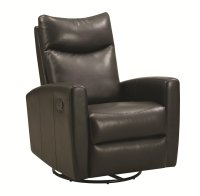 Coaster 600034 Black Leather Swivel Recliner - Steal-A ...