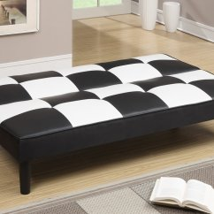 Twin Size Futon Chair Antique Wicker Chairs Uk Poundex F7002 Black Leather Sofa Bed Steal A