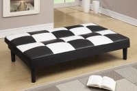 Poundex F7002 Black Twin Size Leather Sofa Bed