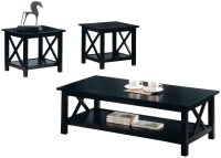 Coaster 5909 Black Wood Coffee Table Set - Steal-A-Sofa ...