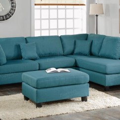 Turquoise Leather Chair And Ottoman Tiger Print Covers Poundex Courtney F7607 Blue Fabric Sectional Sofa