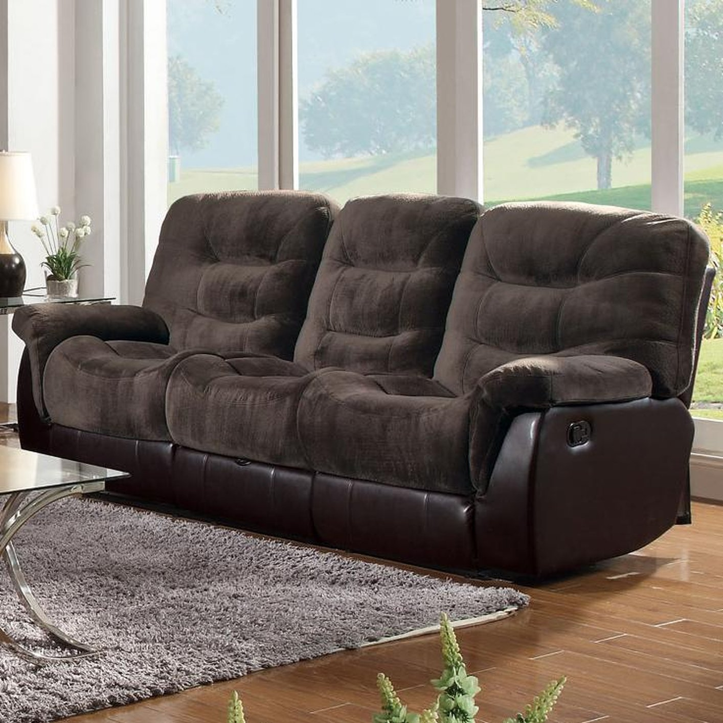 reclining sectional sofa fabric real leather corner bed coaster 601081 brown steal a