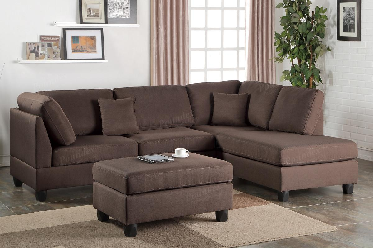 Poundex Courtney F7608 Brown Fabric Sectional Sofa and