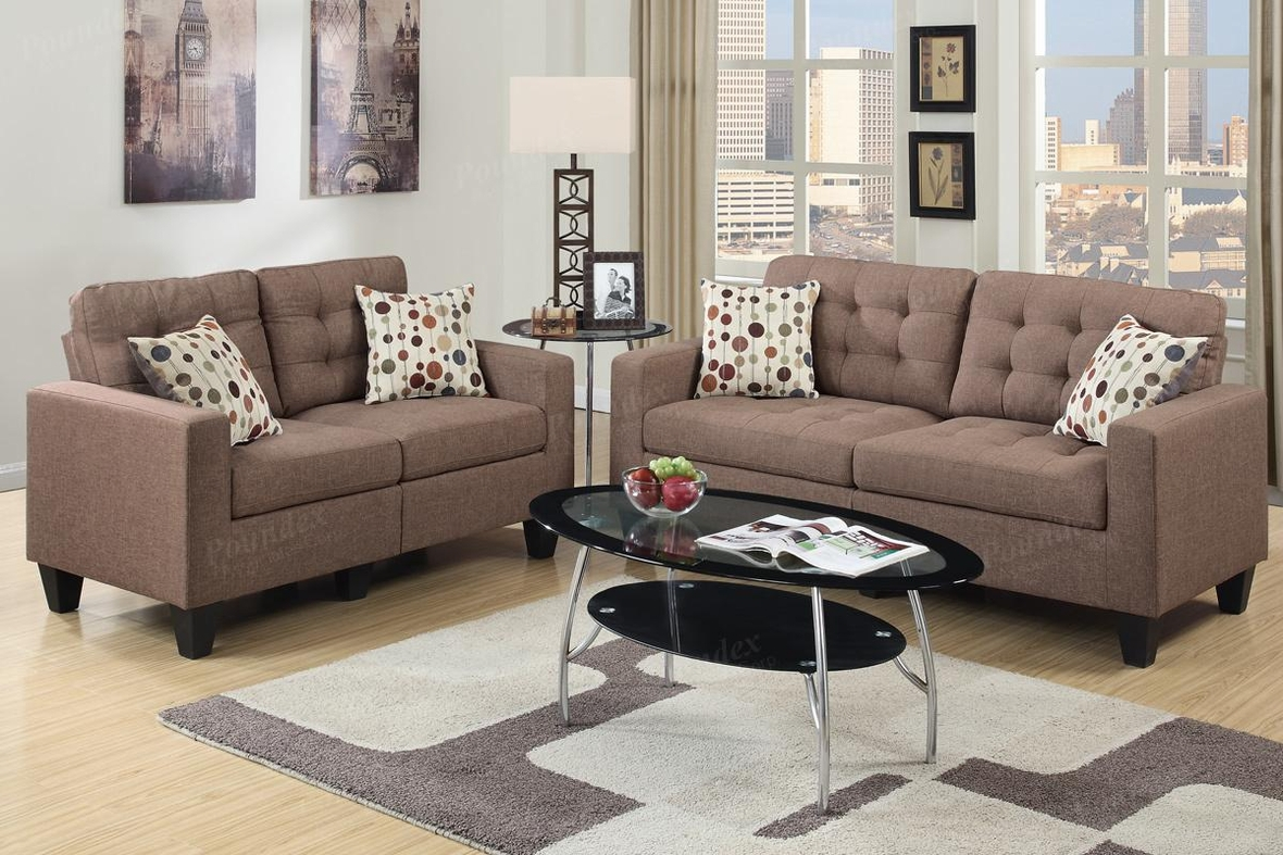 sofa and loveseat set up charcoal grey sectional with chaise lounge poundex acy f6904 brown fabric