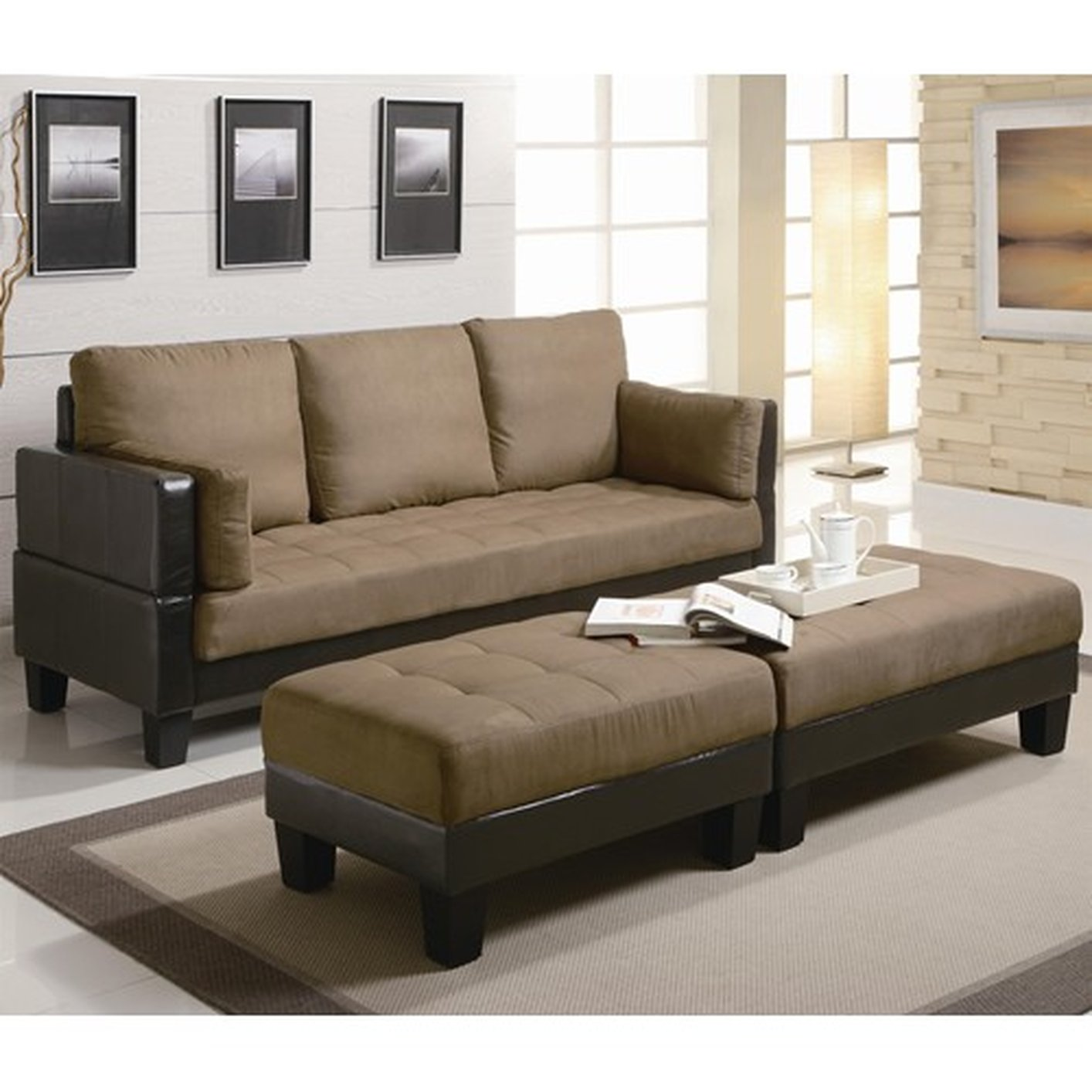 bed and sofa set nailhead trim reclining coaster 300160 brown ottoman steal a