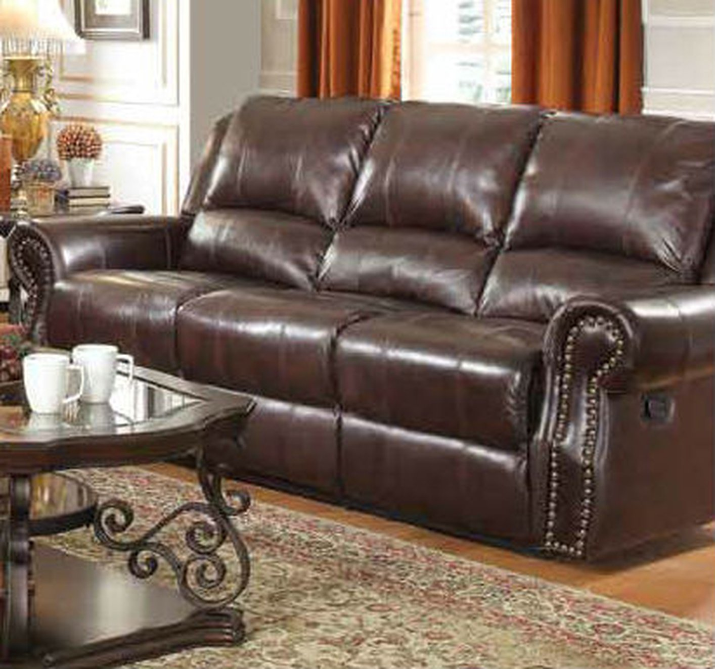 reclining sofa leather brown 2 seater ebay coaster 650161 steal a