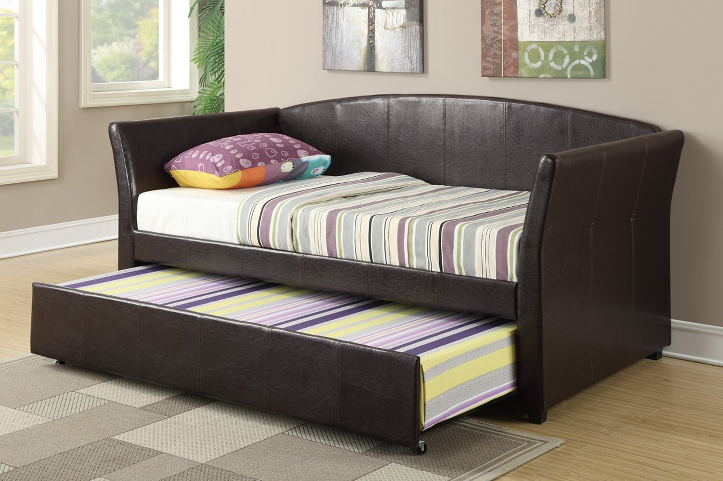 Poundex F9221 Brown Twin Size Leather Bed Steal A Sofa
