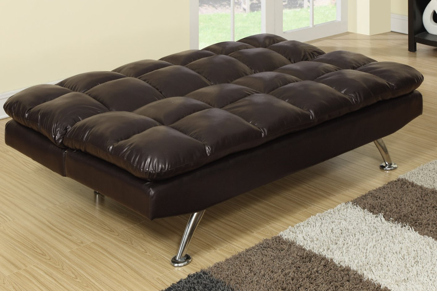 twin bed sofa couch natural latex canada poundex f7011 brown size leather steal a