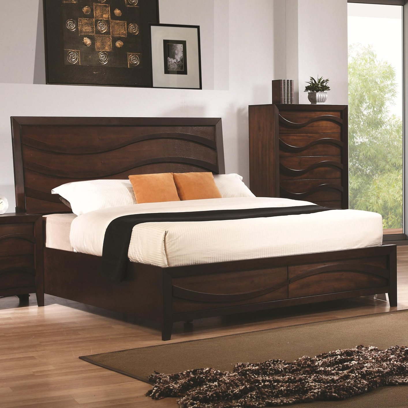 Coaster Kw Brown California King Size Wood Bed