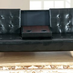 Twin Sofa Bed Leather Axis Art Van Poundex F7209 Black Size Steal A