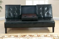 Poundex F7209 Black Twin Size Leather Sofa Bed