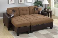 Poundex Cantor F6929 Brown Leather Sectional Sofa and ...