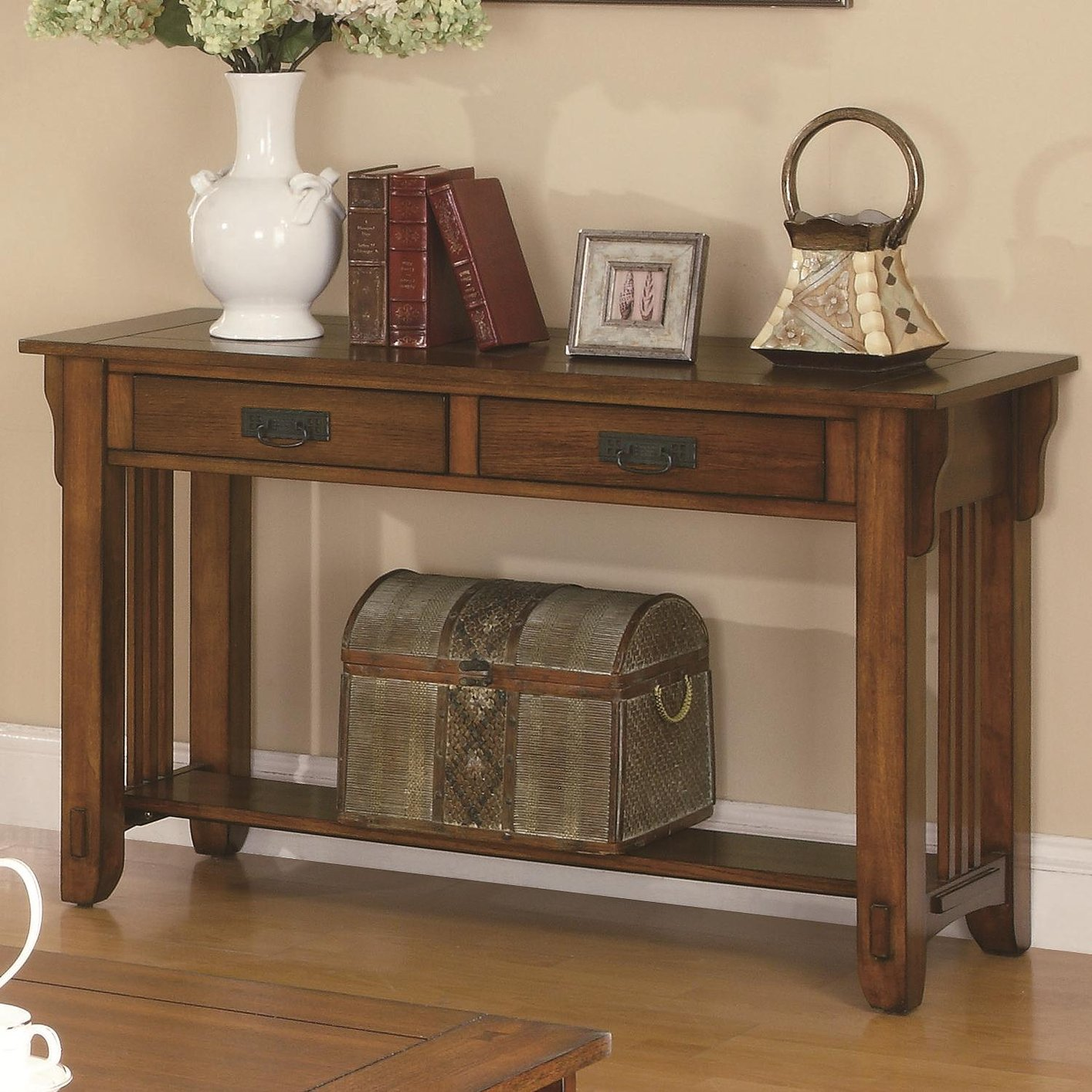 coaster fine furniture cappuccino rectangular console and sofa table reclining nailhead trim colton 702009 brown wood steal a