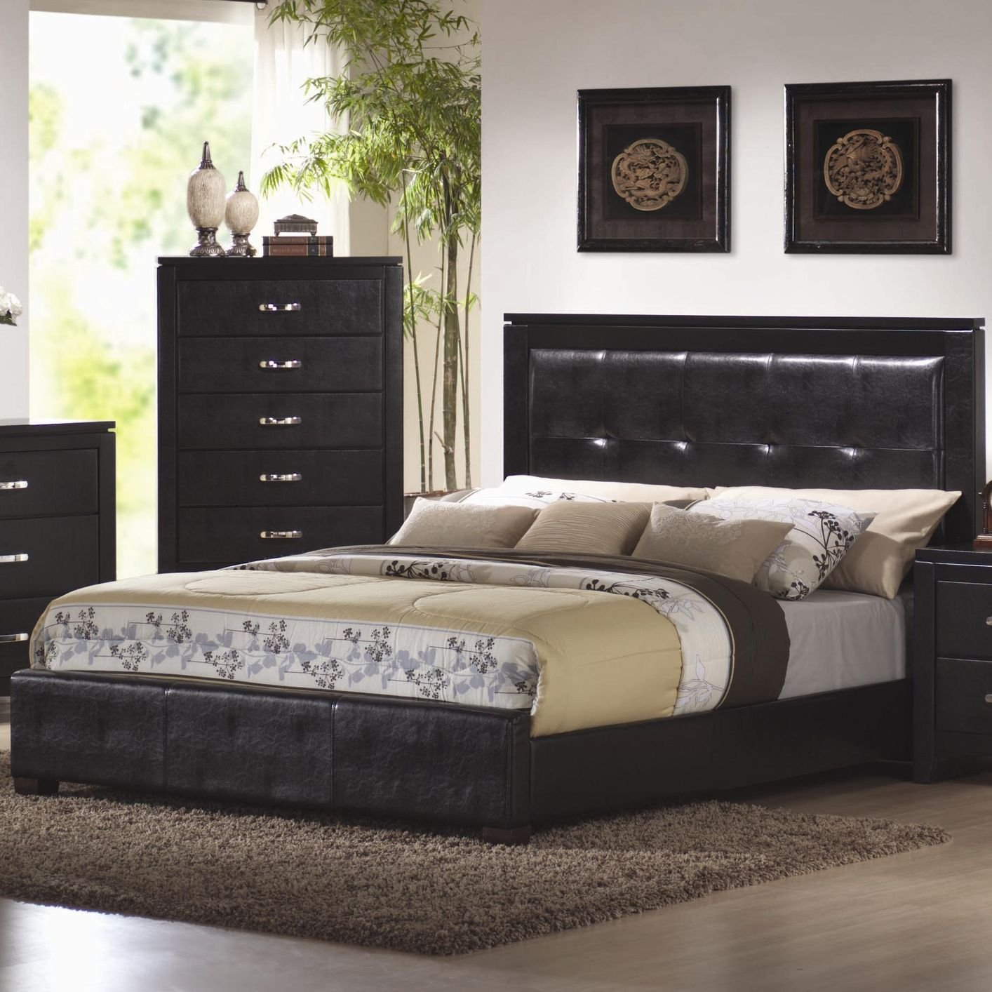 Coaster Kw Black California King Size Leather Bed