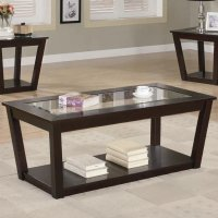 Coaster Fenmore 701506 Brown Glass Coffee Table Set ...