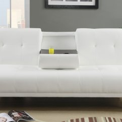 Twin Bed Sofa Couch Best Chesterfield Poundex F7029 White Size Leather Steal A