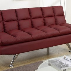 Twin Size Futon Chair Inflatable Poundex F7017 Red Leather Sofa Bed Steal A