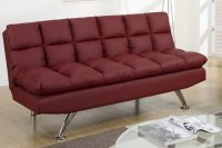Poundex F7017 Red Twin Size Leather Sofa Bed