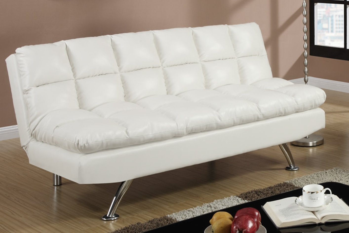 Poundex F7015 White Twin Size Leather Sofa Bed  StealASofa Furniture Outlet Los Angeles CA
