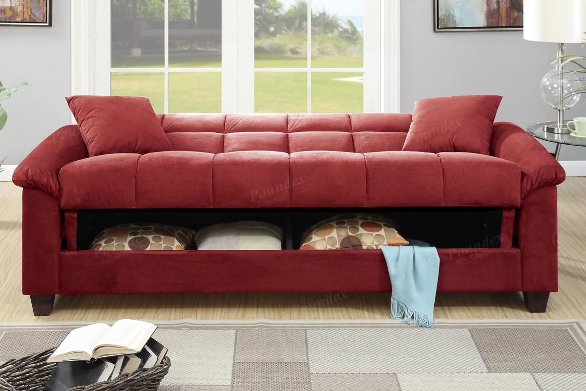 red fabric sofa bed furniture vancouver poundex gertrude f7890 steal a