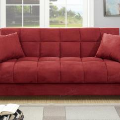 Red Microfiber Reclining Sofa Set For Home Theater Poundex Gertrude F7890 Fabric Bed Steal A