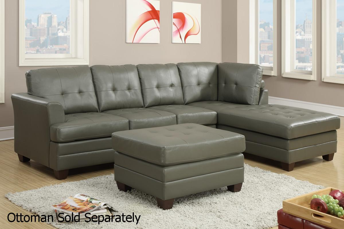 gray leather sofa images burgundy living room ideas poundex f7777 grey sectional steal a