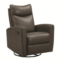 Coaster 600035 Grey Leather Swivel Recliner - Steal-A-Sofa ...