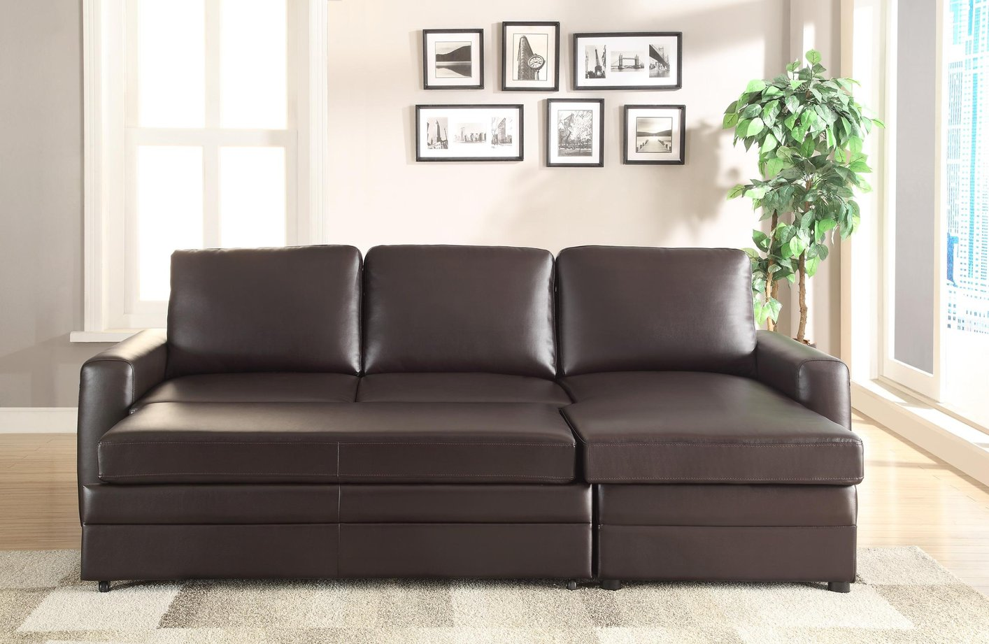 gus sectional sleeper sofa gramercy coaster 503870 brown leather steal a