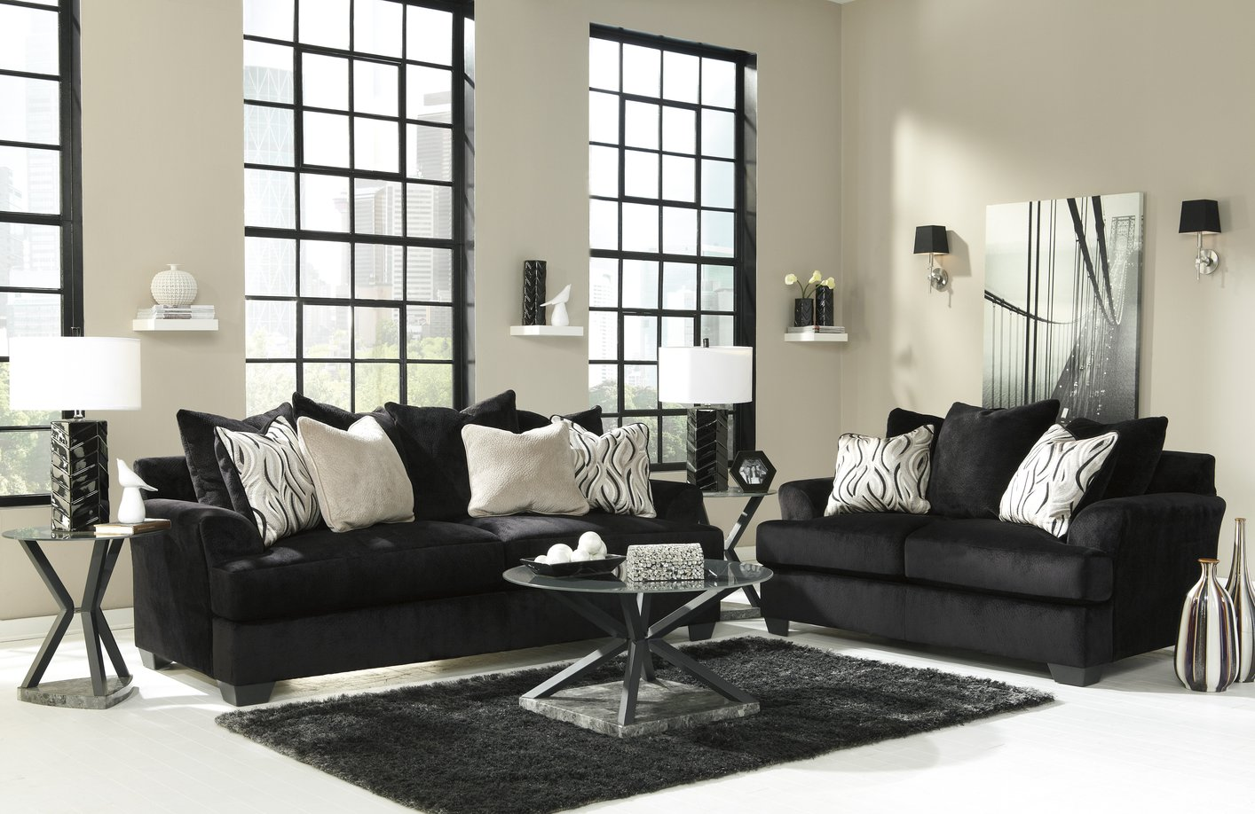 sofa and loveseat set up nama tanpa sandaran ashley heflin 4720038 4720035 black fabric