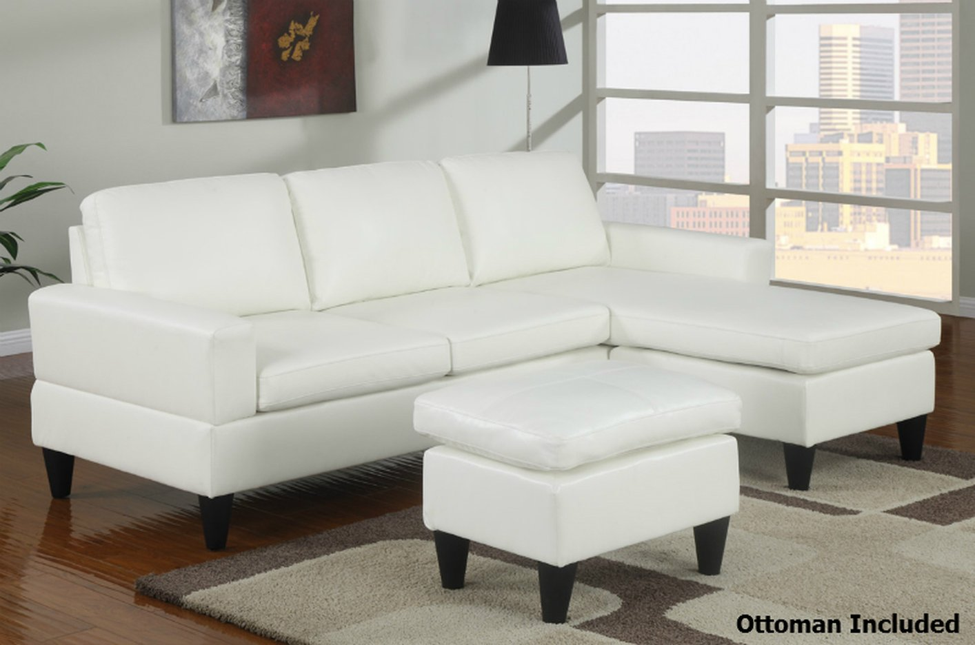 white leather sectional sofa with ottoman twin bed cushions poundex piccio f7298 and