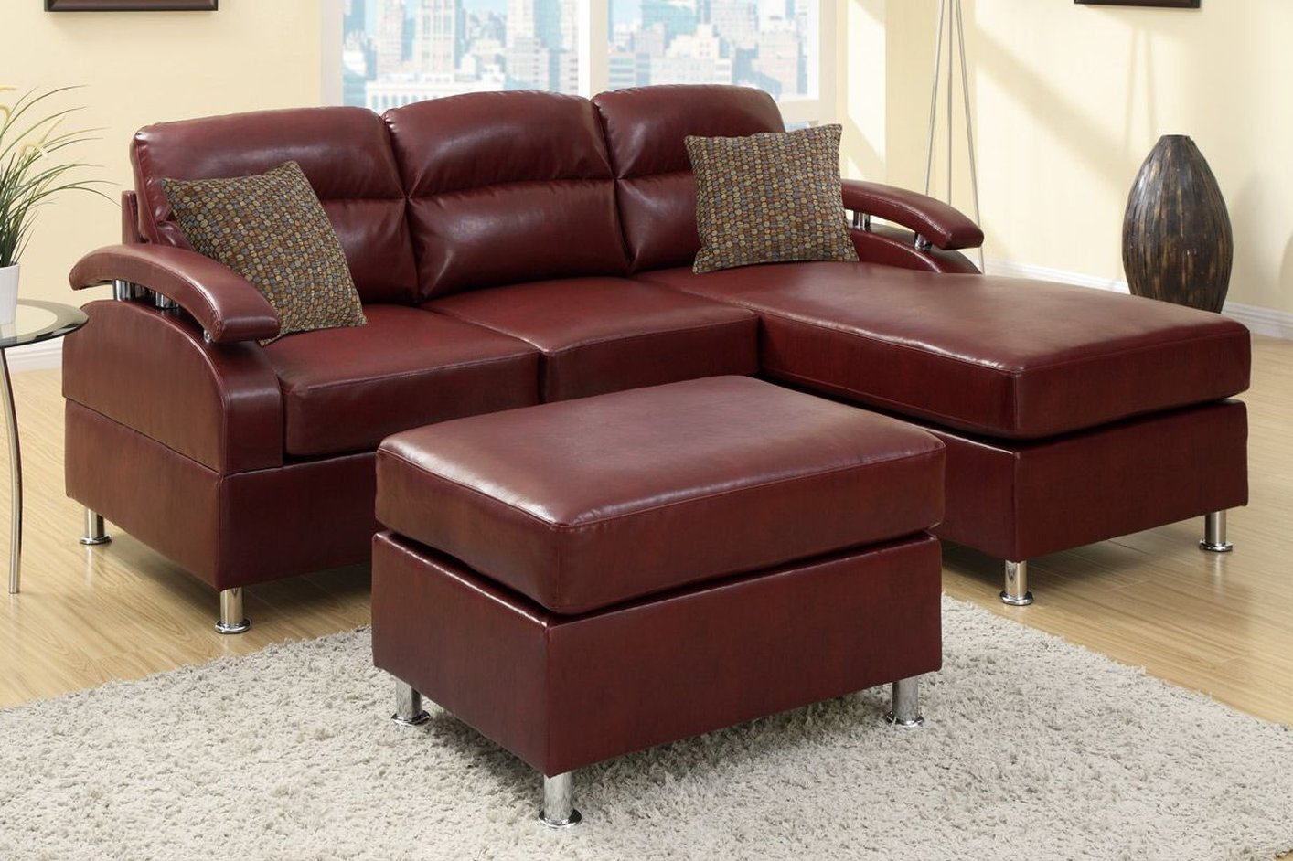 red leather chair and ottoman dining room chairs black poundex kade f7686 sectional sofa