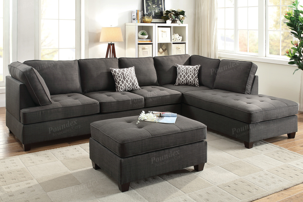 black fabric sofa chair shannon leather and corner poundex lexi f6988 sectional steal a