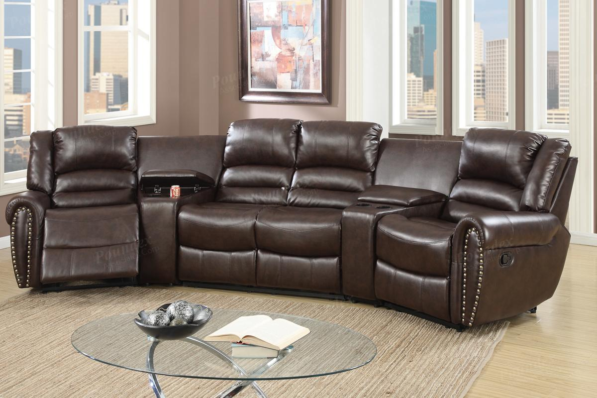 Poundex Malta F6748 Brown Leather Reclining Sectional