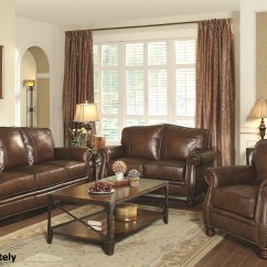 Coaster Leather Sofa Reviews Sectional Sofas Craigslist Montbrook 503981 503982 Brown And