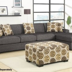 Montreal Sectional Sofa Designer Outlet Poundex Iii F7445 F7447 Grey Fabric