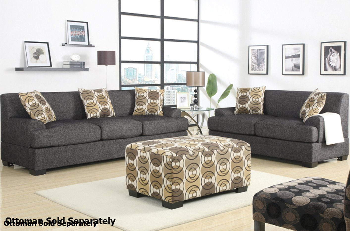 gray fabric sofa set sleeper brand reviews poundex montreal f7447 f7446 grey and loveseat