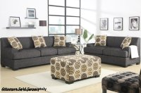 Poundex Montreal F7447 F7446 Grey Fabric Sofa and Loveseat