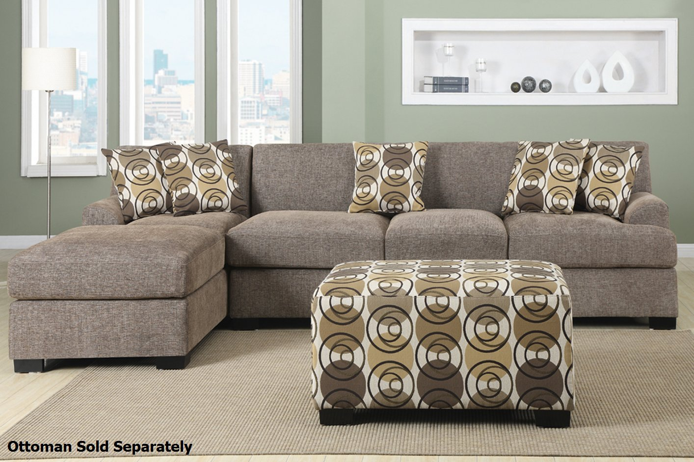 montreal sectional sofa small l shaped sofas poundex iii f7448 f7450 beige fabric