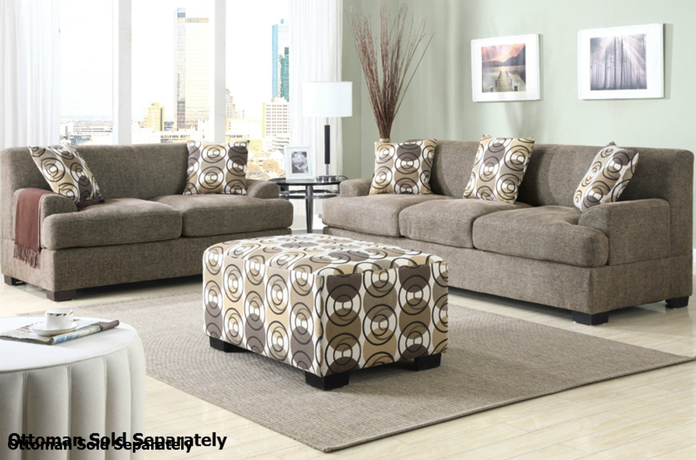Poundex Montreal F7450 F7449 Beige Fabric Sofa and