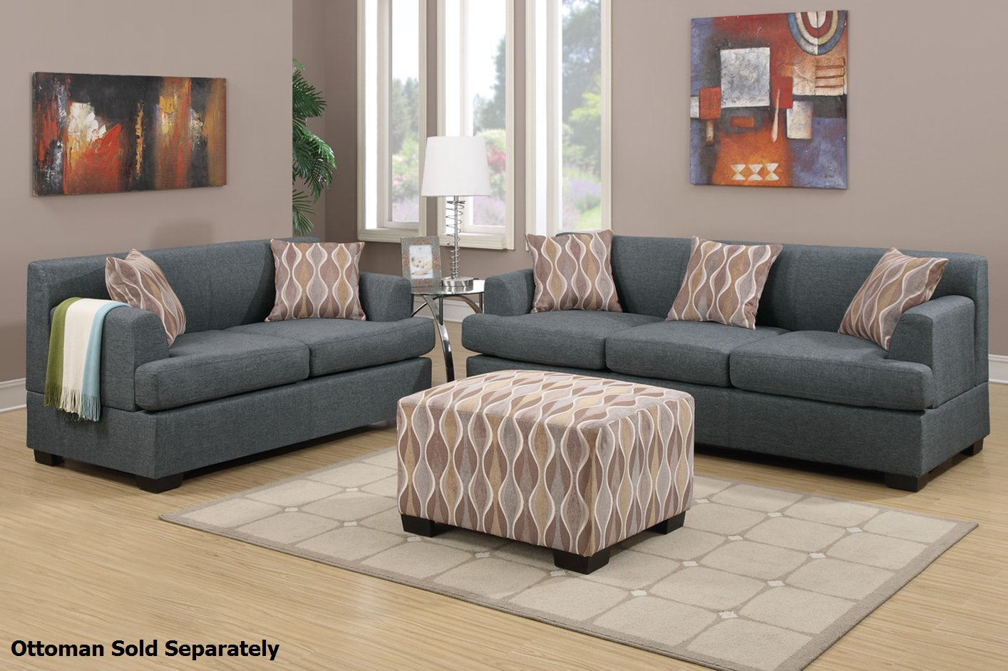 sofa and loveseat set up grey corner bed ikea poundex montreal f7973 f7972 fabric