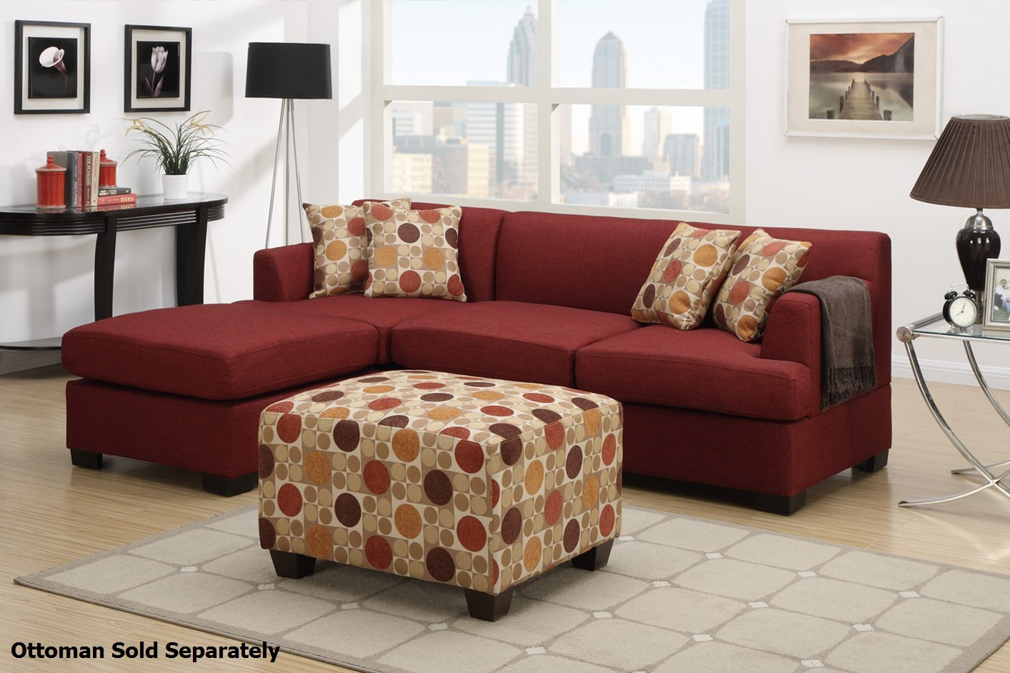 montreal sectional sofa extra large corner beds poundex ii f7961 f7962 red fabric