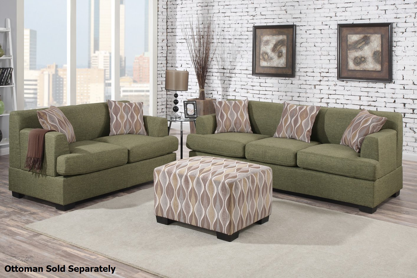 green fabric sofas t cushion sofa slipcovers pottery barn poundex montreal f7978 f7977 and