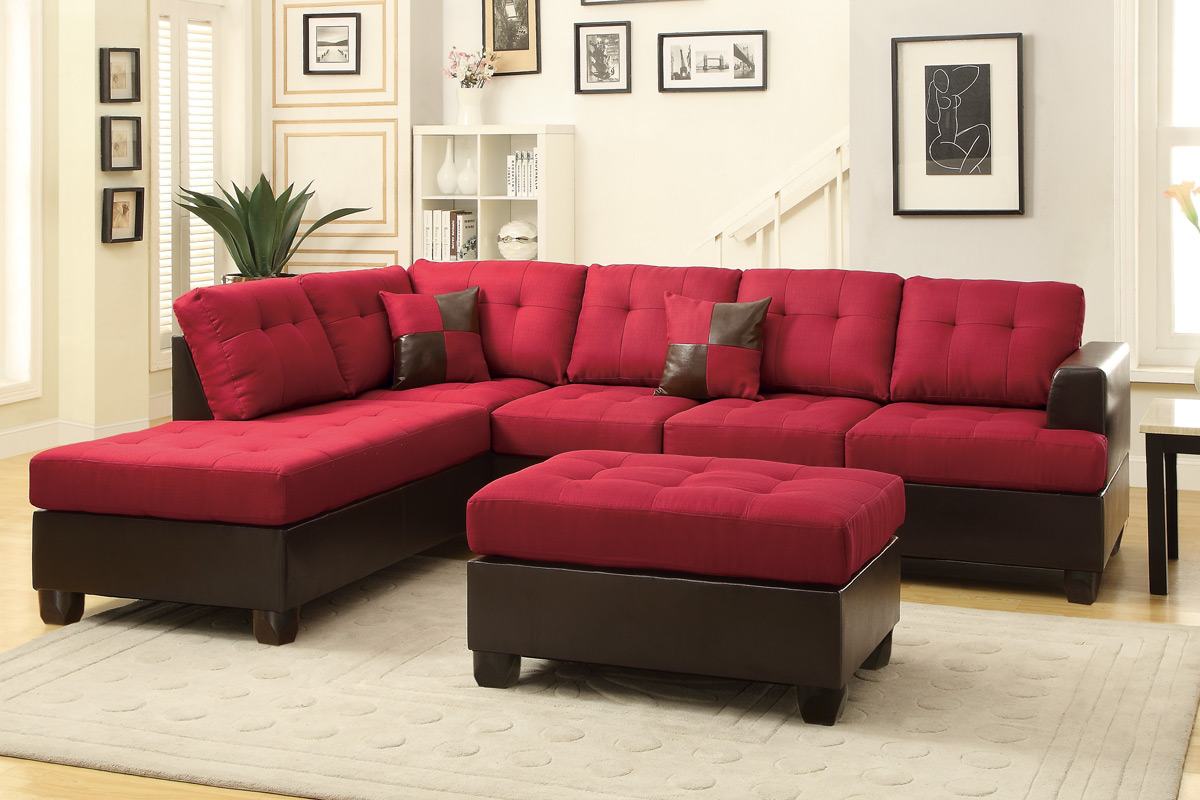 red leather chair and ottoman black butterfly poundex moss f7601 sectional sofa