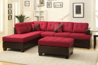 Poundex Moss F7601 Red Leather Sectional Sofa and Ottoman ...