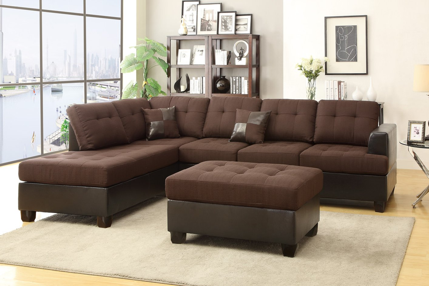 sofa and ottoman 4 seater throws poundex moss f7602 brown fabric sectional