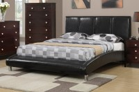 Poundex F9240Q Black Queen Size Leather Bed - Steal-A-Sofa ...