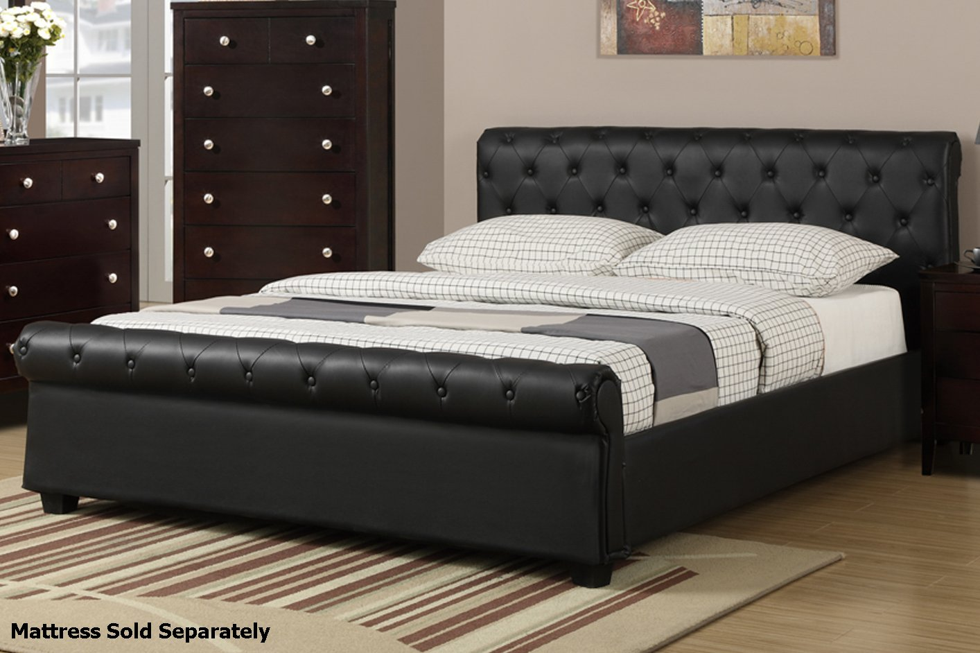 Poundex F Q Black Queen Size Leather Bed