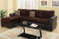 Poundex Radley F7105 Brown Microsuede Sectional Sofa In ...